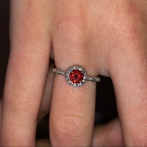 Red Stone + CZ Ring